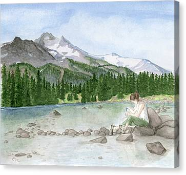 Girl By Lake Canvas Print by Caroline Moses