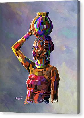 Girl Carrying Water Canvas Print by Anthony Mwangi