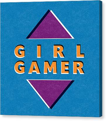 Kid Wall Art Canvas Print - Girl Gamer by Linda Woods