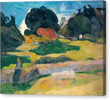 Piglet Canvas Print - Girl Herding Pigs by Paul Gauguin
