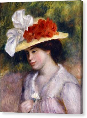 Girl Holding A Daisy Canvas Print by Georgiana Romanovna