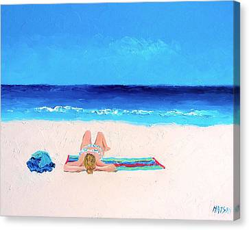 Girl In A Blue Bikini Beach Painting Canvas Print