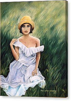 Girl In A Field Of Grass Canvas Print by  Gayle  Hartman
