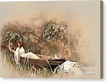 Girl In A Skiff Canvas Print