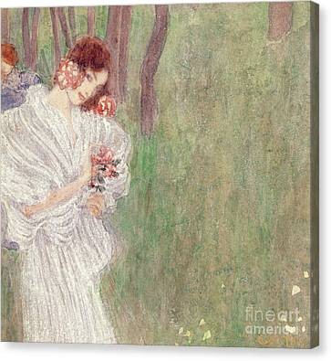 Girl In A White Dress Standing In A Forest  Canvas Print by Gustav Klimt