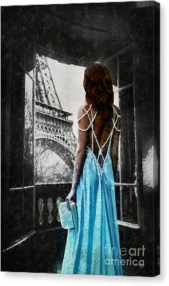 Canvas Print - Girl In Blue Dress by Mo T