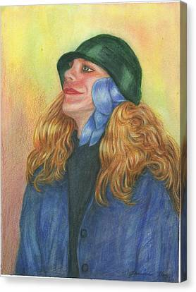 Canvas Print featuring the painting Girl In Blue Ribbon by Jeanne Kay Juhos