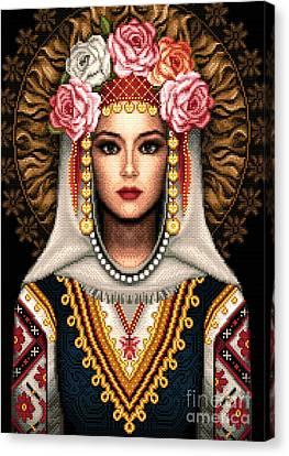 Girl In Bulgarian National Costume Canvas Print by Stoyanka Ivanova