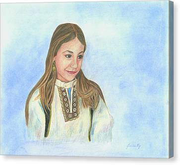 Canvas Print featuring the painting Girl In Greek Costume by Jeanne Kay Juhos