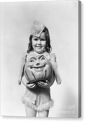 Girl In Halloween Costume, C.1930-40s Canvas Print by H. Armstrong Roberts/ClassicStock