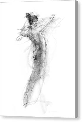 Woman Drawings Drawings Canvas Print - Girl In Movement by Christopher Williams