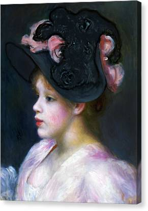 Girl In Pink And Black Canvas Print by Georgiana Romanovna