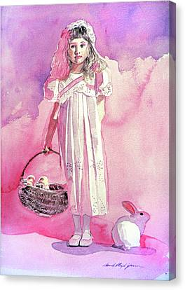 Girl In Pink Canvas Print by David Lloyd Glover