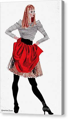 Twiggy Canvas Print - Girl In Red Skirt by Genevieve Esson