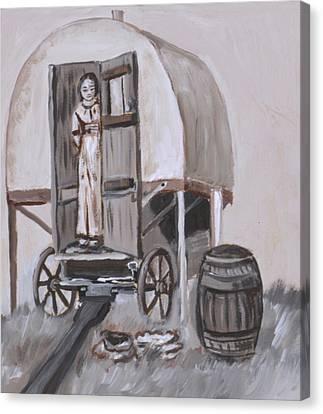 Sheep Wagon Canvas Print   Girl In Sheep Wagon Historical Vignette By Dawn  Senior Trask