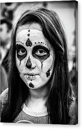 Canvas Print featuring the photograph Girl In Skull Facepaint by John Williams