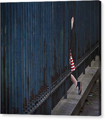 Girl In Striped Red Dress Canvas Print