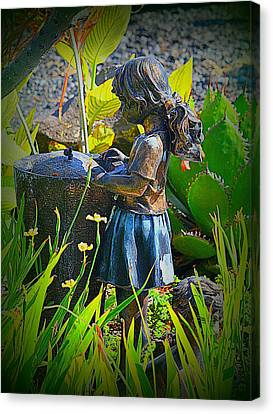 Canvas Print featuring the photograph Girl In The Garden by Lori Seaman