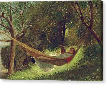 Girl In The Hammock By Winslow Homer 1873 Canvas Print by Movie Poster Prints