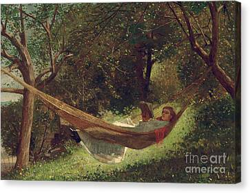 Girl In The Hammock Canvas Print by Winslow Homer