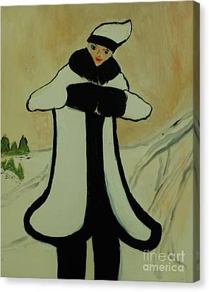Girl In The Snow Canvas Print by Marie Bulger