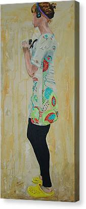Canvas Print featuring the painting Girl In The Yellow Shoes by Kevin Callahan