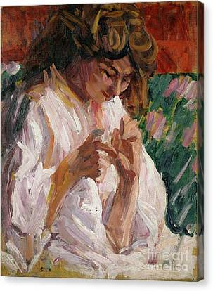 Girl Mending Canvas Print by Roderic OConor