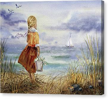 Canvas Print featuring the painting Girl Ocean Shore Birds And Seashell by Irina Sztukowski