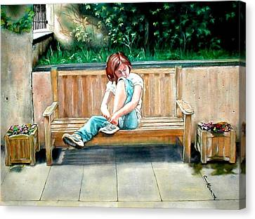 Girl On A Bench Canvas Print by G Cuffia