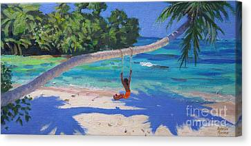 Girl On A Swing, Seychelles Canvas Print