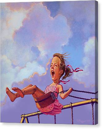 Girl On A Swing Canvas Print by Valer Ian