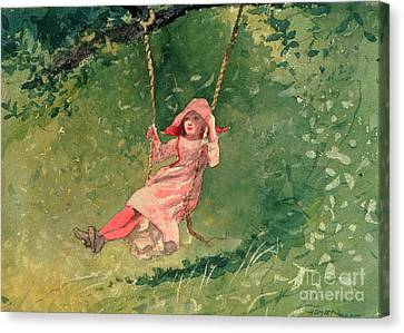 Girl On A Swing Canvas Print by Winslow Homer