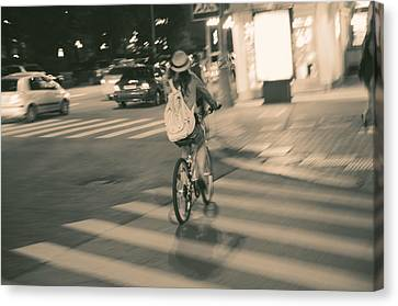 Crosswalk Canvas Print - Girl On Bicycle by Konstantin Sevostyanov
