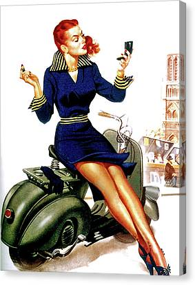 Canvas Print - Girl On Motorcycle by Long Shot