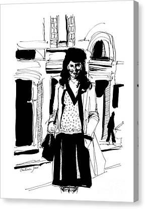 Girl On Street Canvas Print by Cristina Jaco