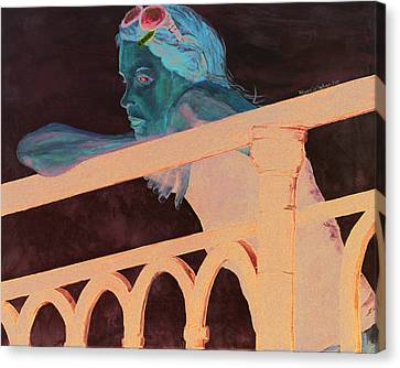 Canvas Print featuring the painting Girl On The Rail by Kevin Callahan