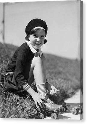 Rollerskate Canvas Print - Girl Putting On Roller Skates, C.1930s by H. Armstrong Roberts/ClassicStock