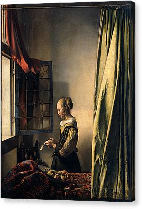 Girl Reading A Letter By An Open Window Canvas Print by Jan Vermeer