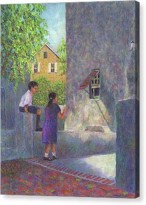 Girl Reading A Letter Canvas Print by Susan Savad