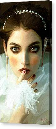 Canvas Print featuring the painting Girl Ready To Party by James Shepherd