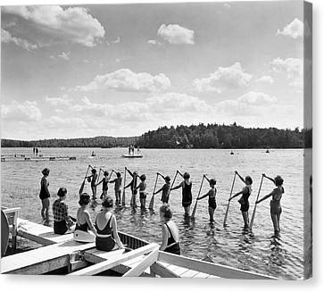 Lessons Canvas Print - Girl Scout Canoe Lessons by Underwood Archives
