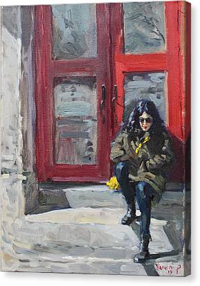 Girl Sitting At Red Doorstep Canvas Print by Ylli Haruni