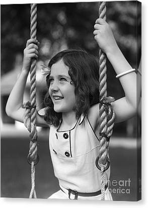 Girl Sitting On A Swing, C.1930s Canvas Print