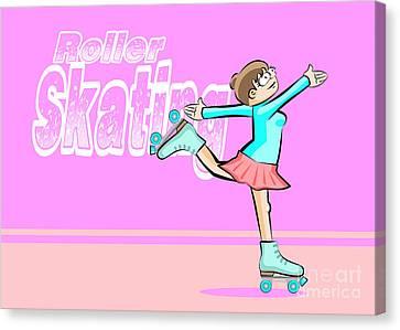 Skates Canvas Print -  Girl Skating by Daniel Ghioldi