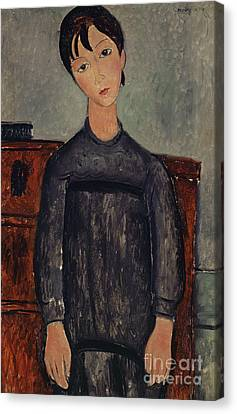 Clemente Canvas Print - Girl Standing In A Black Pinafore, 1918  by Amedeo Modigliani