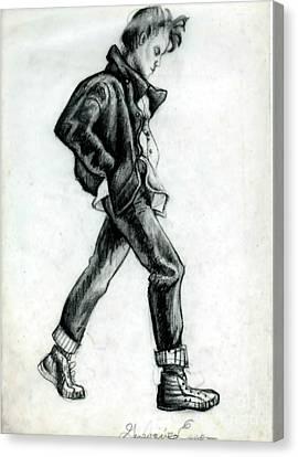 Girl Walking Self Portrait Canvas Print