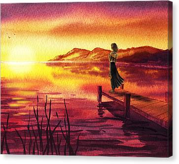 Canvas Print featuring the painting Girl Watching Sunset At The Lake by Irina Sztukowski