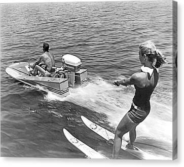 Girl Water Skiing Canvas Print