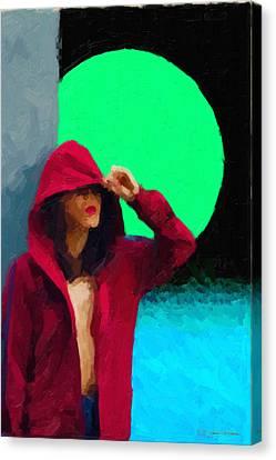 Hoodies Canvas Print - Girl Wearing A Maroon Hoodie by Serge Averbukh