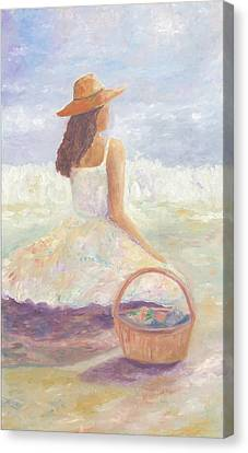 Girl With A Basket Canvas Print